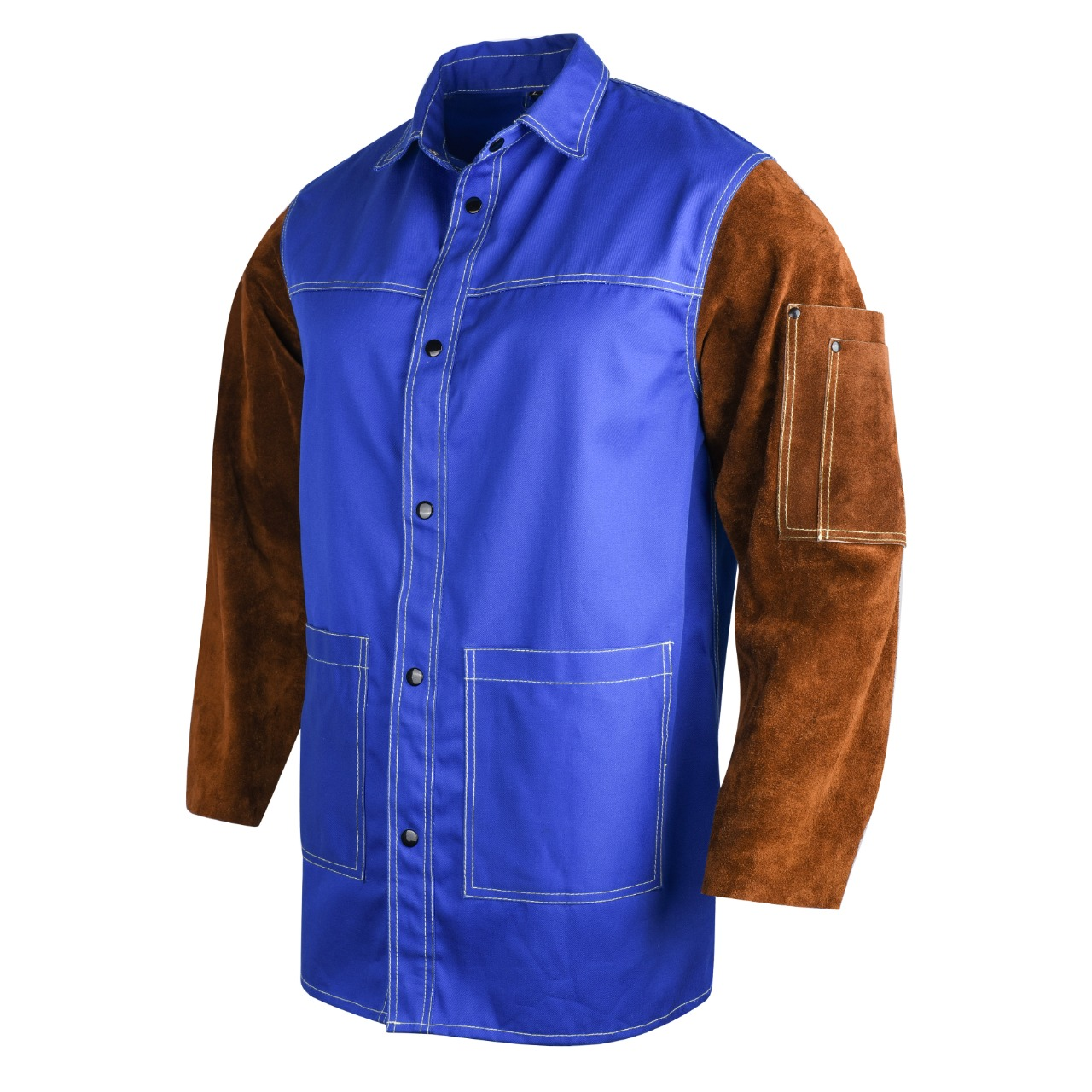 Cotton welding jacket high quality FR cotton and cowhide split leather jacket for welders