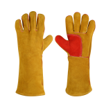High quality cowhide split leather double palm stick welding gloves large size 16 inch long, sewed with kevlar thread